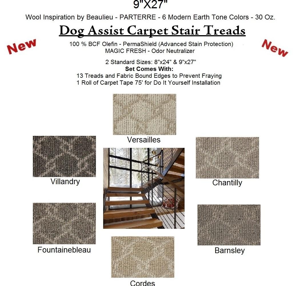 Parterre Ii Dog Assist Carpet Stair Treads   Wool Carpet Stair Treads   Zealand Wool   Bullnose Padded   Flooring   Plush Carpet   Cat Pet
