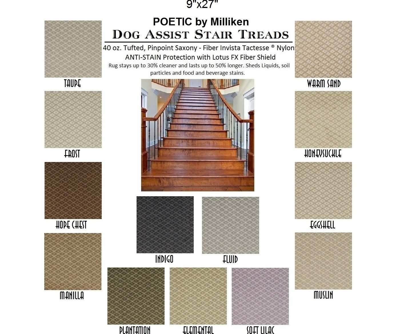 Poetic Ii Dog Assist Carpet Stair Treads   Saxony Carpet On Stairs   Laminate Riser   Brown   Carpeted   Tread   Thick