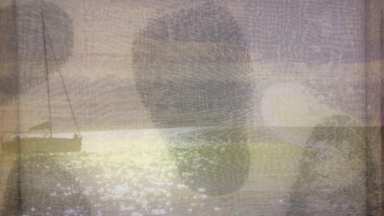 mehrlagig, bemalter Organzadruck, ca 50 x 70 cm, 2017 ©Sophie Cull