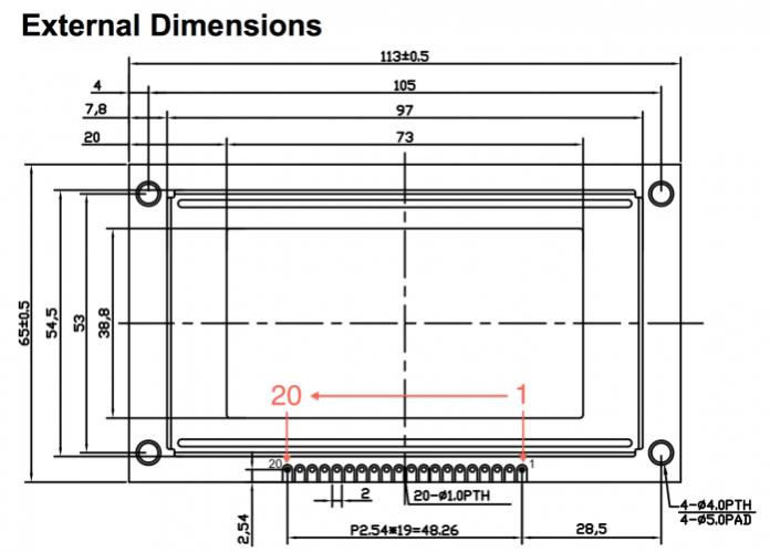 LCD Dimensions
