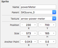 Sprite settings for angle meter.