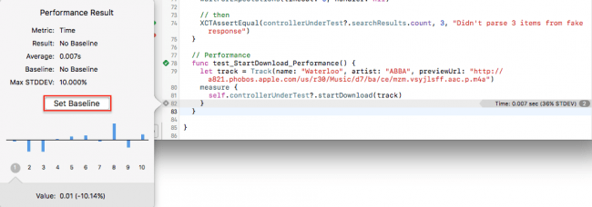 iOS Unit Testing: Viewing a Performance Result