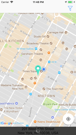 Google Maps iOS SDK Tutorial  Getting Started   Ray Wenderlich Build and run your app  as you scroll the map you should see a loading  animation on the address label like so