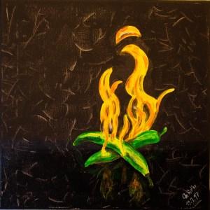 Die scharfen und feurigen Pepperonis, Original, Acryl auf Leinwand 40 x 40 cm