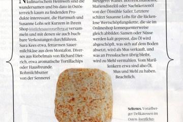 Beitrag über Köstliches aus Vorarlberg und seine Partner in der österreichischen Tageszeitung DIE PRESSE in der Freitags-Beilage SCHAUFENSTER
