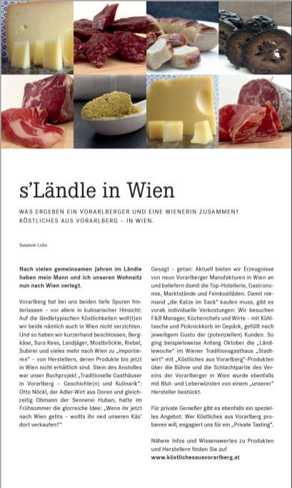 Beitrag über Köstliches aus Vorarlberg in der Februar 2017 Ausgabe des Bordmagazins der PEOPLEs Viennaline