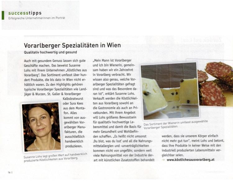 KÖSTLICHES & Susanne im WKO Magazin UNTERNEHMERIN