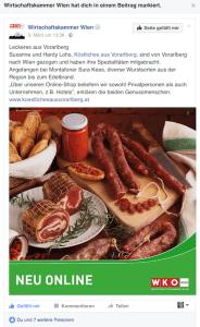 Screenshot des Postings der Wirtschaftkammer Wien über Köstliches aus Vorarlberg auf Facebook