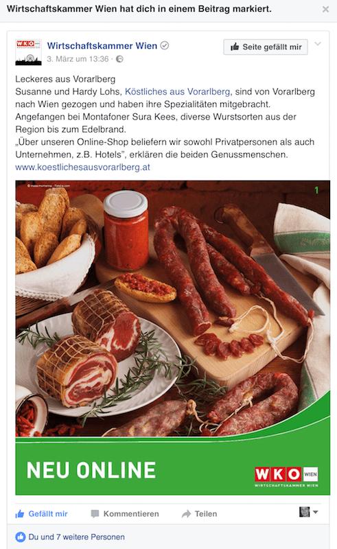 Köstliches auf der Facebook Seite der WIRTSCHAFTSKAMMER WIEN