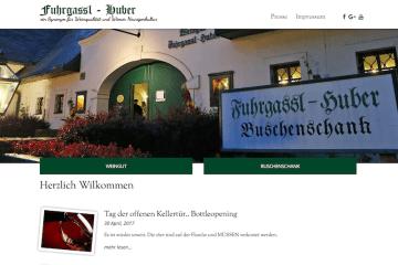 Screenshot der Webseite vom Heurigen Fuhrgassl-Huber wegen dem Tag der offenen Kellertür Bottleopening am 30. April 2017