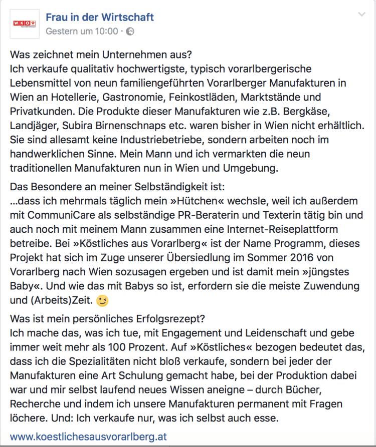 Beitrag über Susanne Lohs von Köstliches aus Vorarlberg auf der Facebook Seite von Frau in der Wirtschaft der WKO