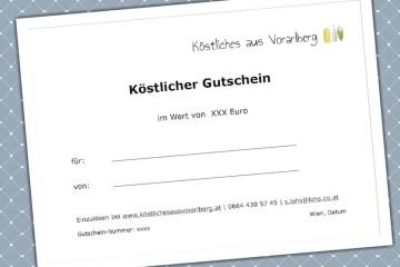 Gutschein zum Verschenken von Köstliches aus Vorarlberg