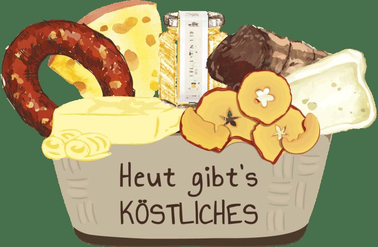 """Das Logo des KÖSTLICHES AUS VORARLBERG Services """"Heut gibt's KÖSTLICHES"""""""