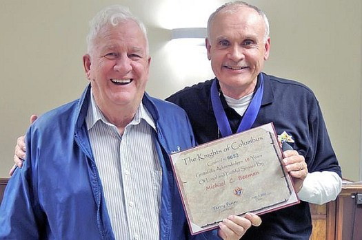 Michael recognised for 19 years of service in KofC