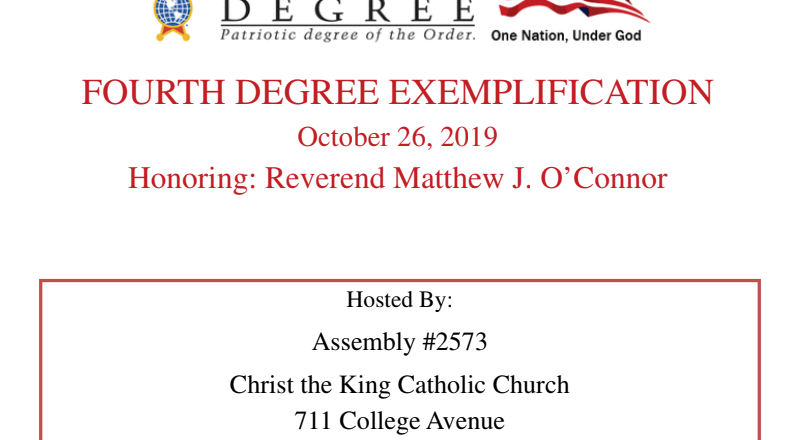 Fourth Degree Exemplification in Daphne, Alabama October 26, 2019