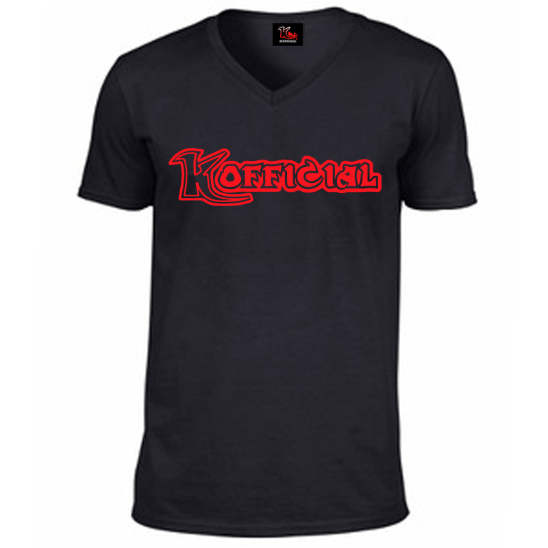 KOfficial V Neck T-Shirt – Red Classic Print