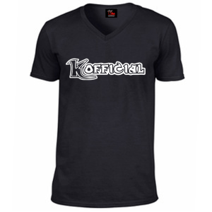 KOfficial black V neck T-Shirt white classic logo