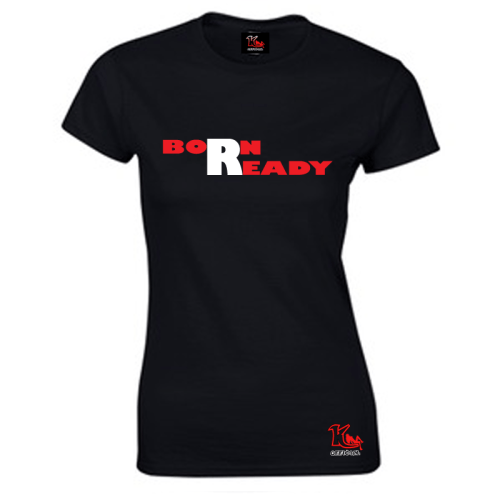 KOfficial Born Ready Womens Fitted T-Shirt black