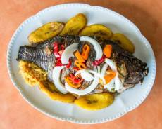 African food - Tilapia  plantain.