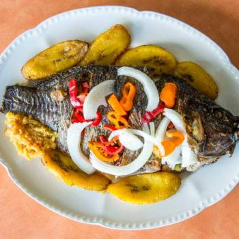 African food - Tilapia Fish and plantain.