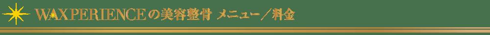 美容整骨_メニュー/料金【東京・新宿・小顔矯正・骨盤矯正】WAXPERIENCE