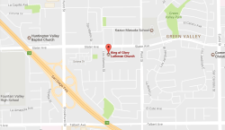 map showing location of King of Glory Lutheran Church.