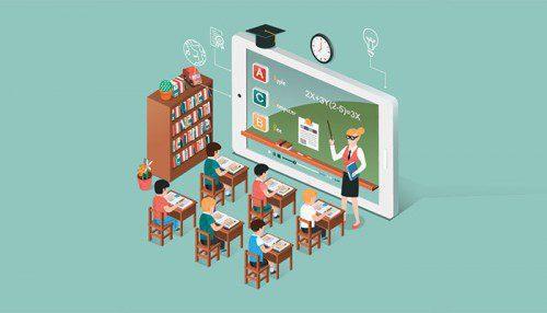Comic illustration of blended learning