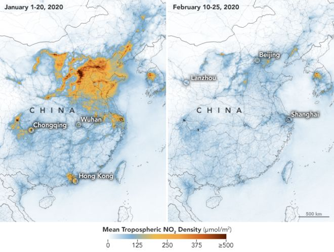 Showing decrease in pollutants across northern China