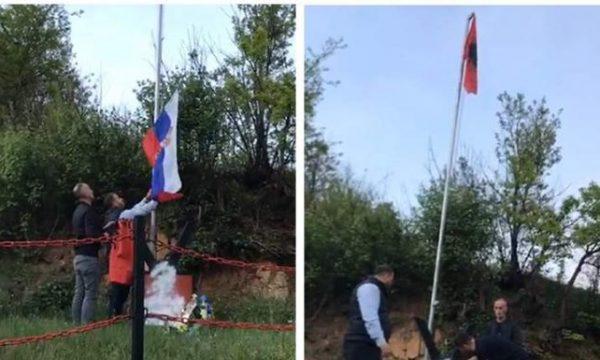 Largohet flamuri serb e rikthehet flamuri kombëtar tek përmendorja e dëshmorit shqiptar në Bujanoc (VIDEO)