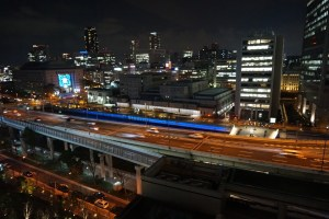 Night view in Osaka, overlooking the Metropolitan Expressway.