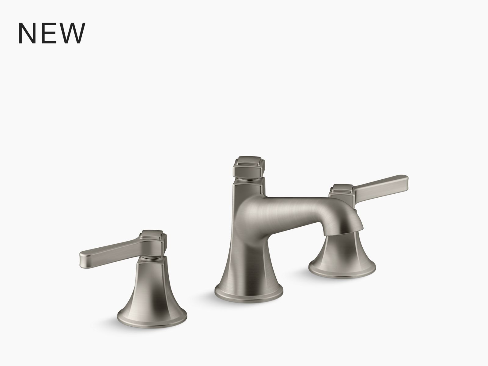 forte widespread commercial bathroom sink faucet with sculpted lever handles metal drain red blue indexing and vandal resistant aerator