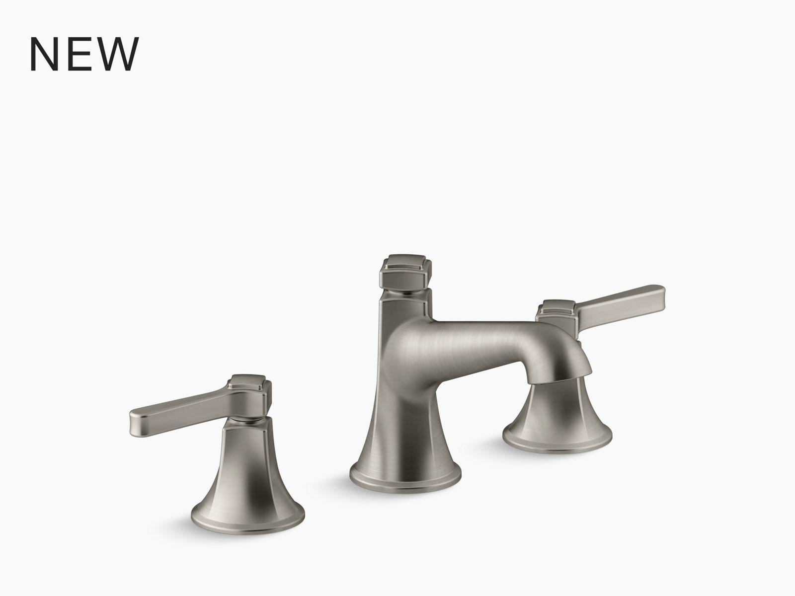 bancroft monoblock single hole bathroom sink faucet with escutcheon and metal lever handles