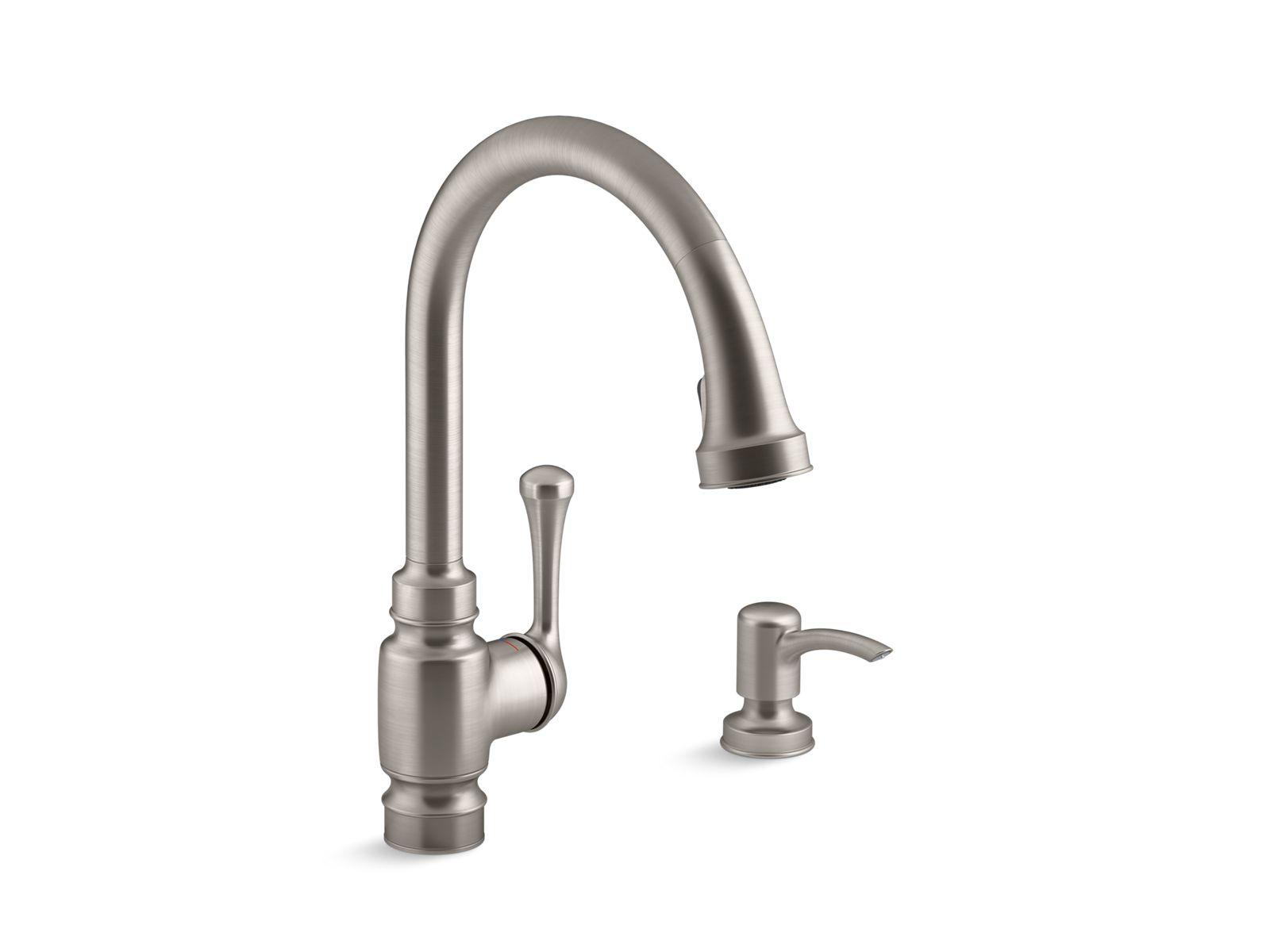 k r72512 sd carmichael pull down kitchen faucet with dispenser kohler