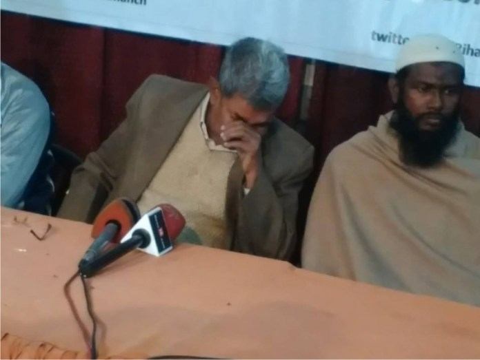 Tears at a press conference releasing the Innocents