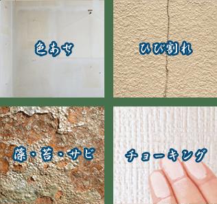 外壁塗装、色あせ・ひび割れ・藻・苔・サビ・チョーキング画像