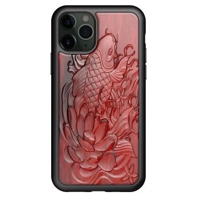 Coque en bois rouge relief 3D iPhone 12 iPhone 13
