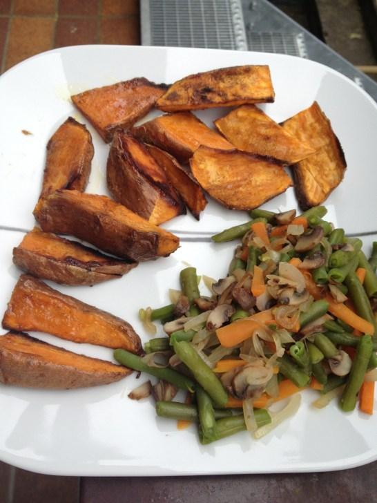 Baked sweet potatoes and sautéed veggies