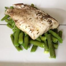 Sous-vide atlantic cod on green beans