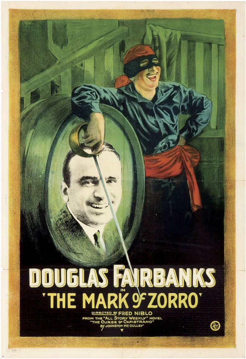 Movie poster for 1920 film The Mark of Zorro.