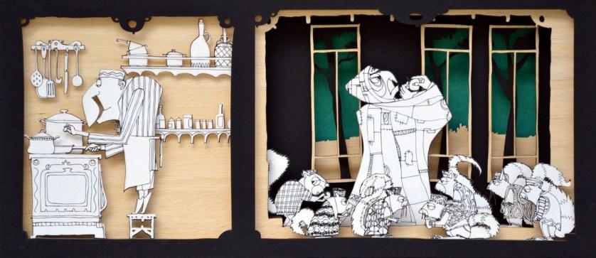 Φίλιππος Φωτιάδης: «Ο Μύτας στο σπίτι της γριάς με τους σκίουρους», από την εικονογράφηση του βιβλίου «Παραμύθια με την Ξένια», εκδ. Μάρτης, 2016. «Σπίτι είναι ένα κτίσμα -συνήθως- μέσα στο οποίο ζούμε. Ένα κέλυφος που μας περιβάλλει. Περιλαμβάνει χώρους ξεκούρασης, φαγητού, διασκέδασης κι ένα τουλάχιστον μπάνιο. Ενίοτε και εξωτερικούς χώρους. Διαμορφωμένους όπως αρέσει και αρμόζει στον καθένα. Αυτό είναι σπίτι. Η φωλιά του καθενός. Πρέπει να μας αρέσει να επιστρέφουμε σπίτι μας. Εκεί αισθανόμαστε προστασία. Εκτός κι αν είμαστε εγκλωβισμένοι στο σπίτι μας. Ή στο σπίτι κάποιου άλλου. Όπως στην περίπτωση του Μύτα που, σύμφωνα με το παραμύθι, τον είχε μαγέψει η γρια με τους σκίουρους και τον κράτησε μέσα στο δικό της σπίτι επί επτά χρόνια, για να της μαγειρεύει».