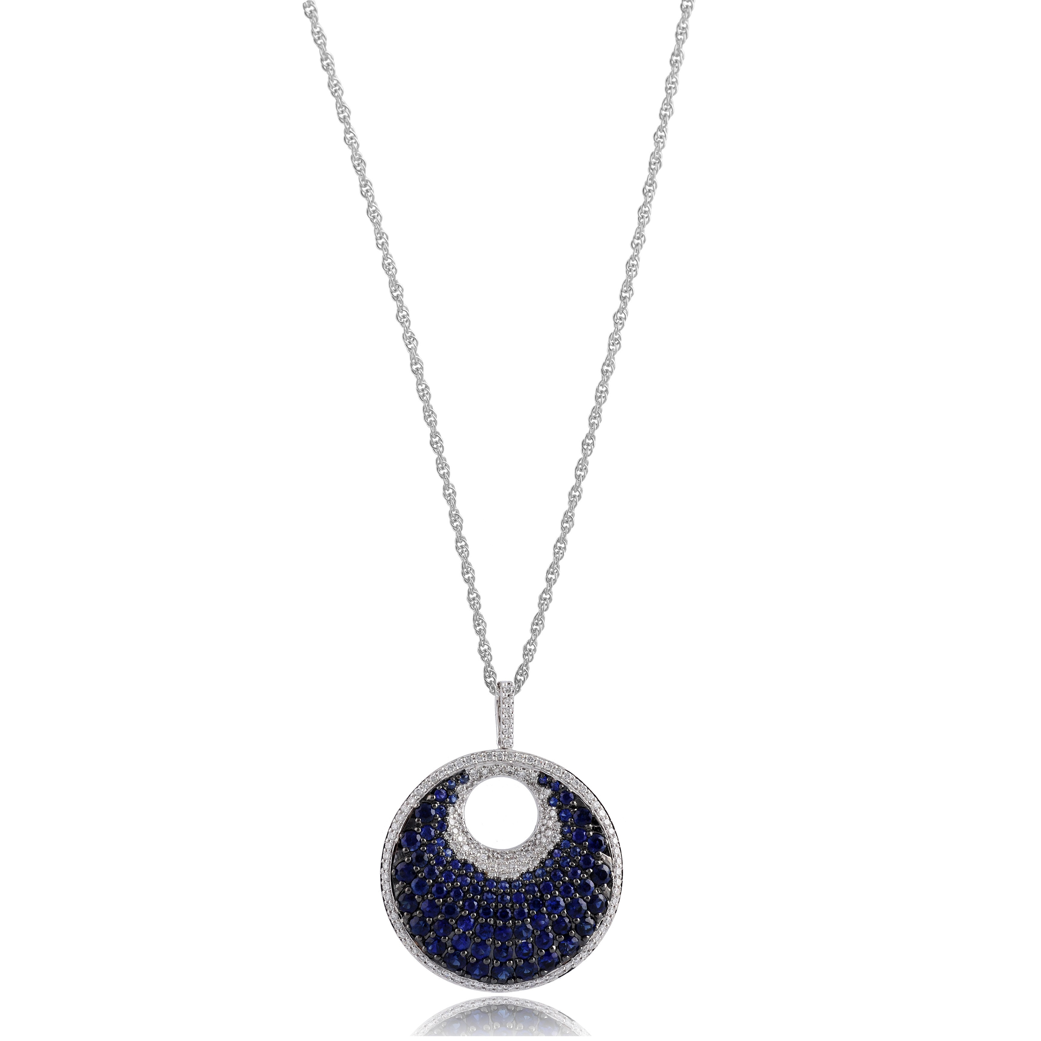 Blue Moon 14k White Gold Sapphire And Diamond Necklace