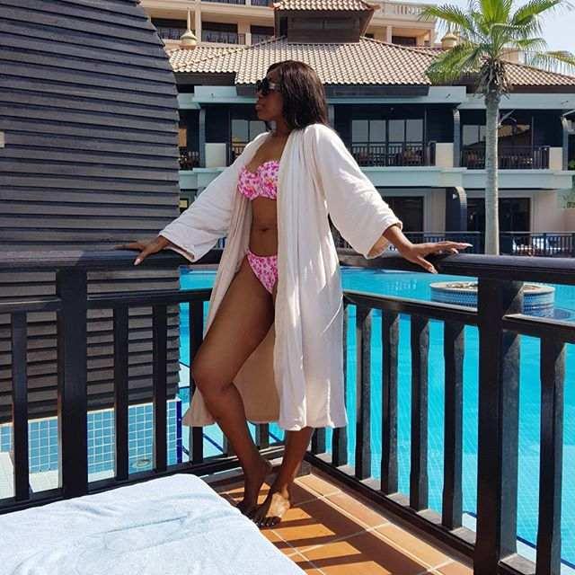 Sun, Sea And Swimwear: Ebube Nwagbo Is Stunning In Pink Floral Bikini On Dubai Holiday 1