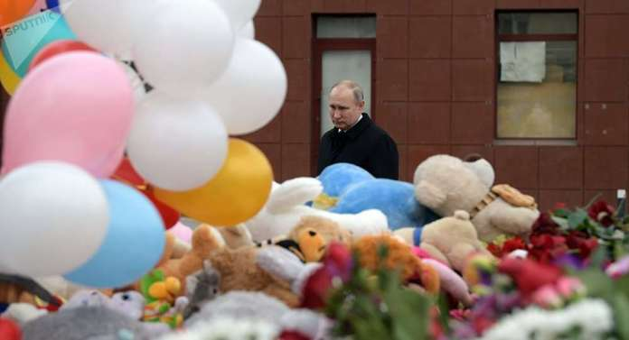 Russian President, Vladimir Putin Has Declared A Two-Day Mourning In Kemerovo After 41 Children Died In The Fire Outbreak 1