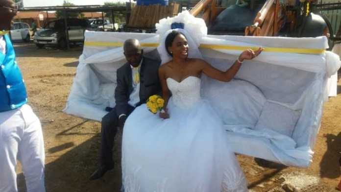Extraordinary: Couple Ride In An Excavator To Their Wedding Reception In South Africa 1