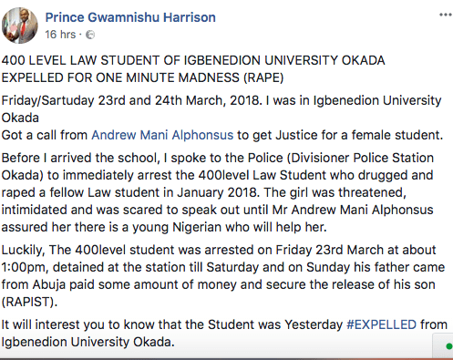 Expelled! Igbinedion Law Student Sent Packing For Drug Abuse And Rape Claims 3