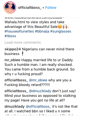 Hot! TBoss Calls One Of Her Followers A 'Bloody Retard' 3