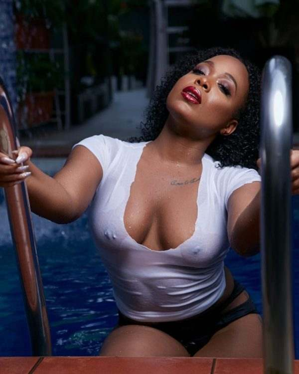 Moet Abebe Leaves Little To The Imagination In Bra-less Pool Photos 4