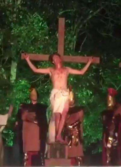 Saving Jesus! Theatre-goer StormsPassion Play Stage And Attacks 'Roman Soldier' To Stop Jesus 'Being Crucified' 2