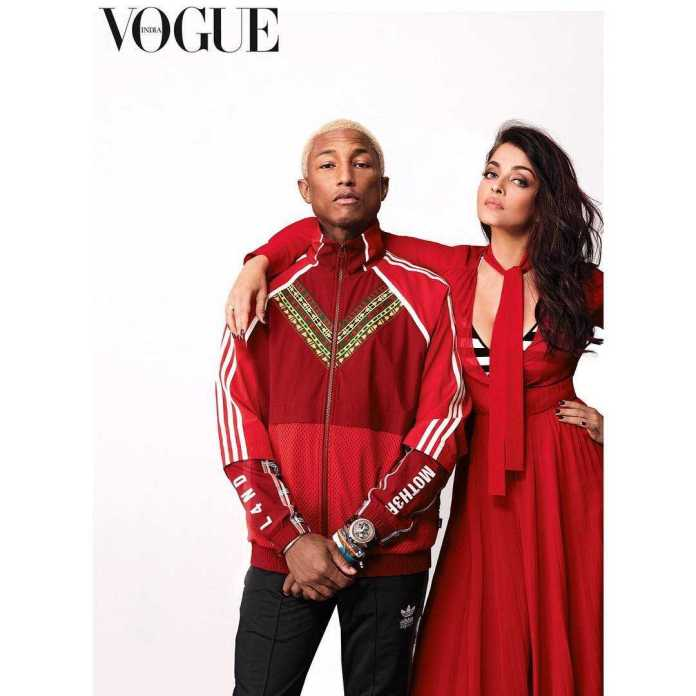 Pharrel Williams And Aishwarya Rai Bachchan Style For The Cameras On The Cover Of Vogue India 1