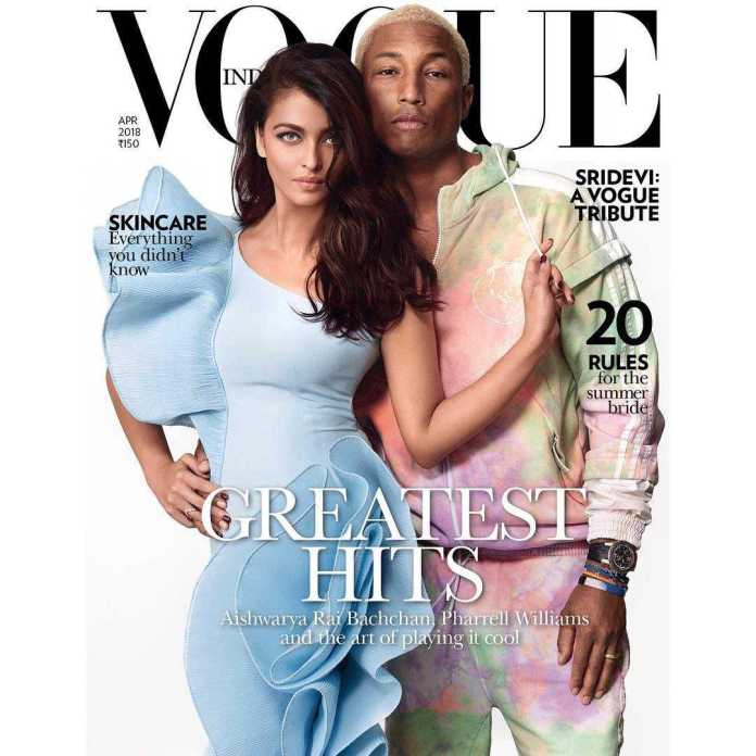Pharrel Williams And Aishwarya Rai Bachchan Style For The Cameras On The Cover Of Vogue India 2